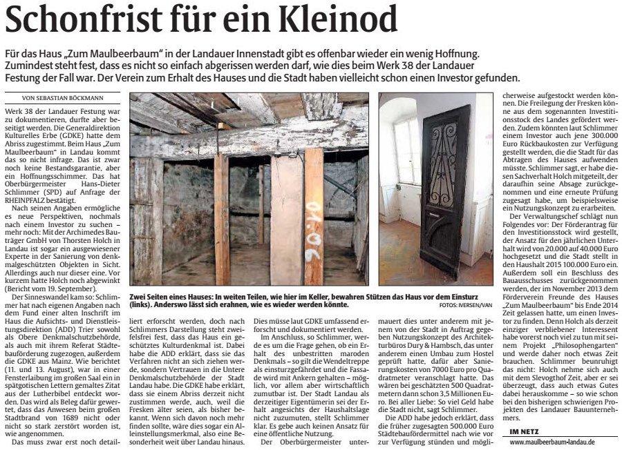 3-Artikel-Rheinpfalz-Schonfrist-fuer-ein-Kleinod-2014-10-29